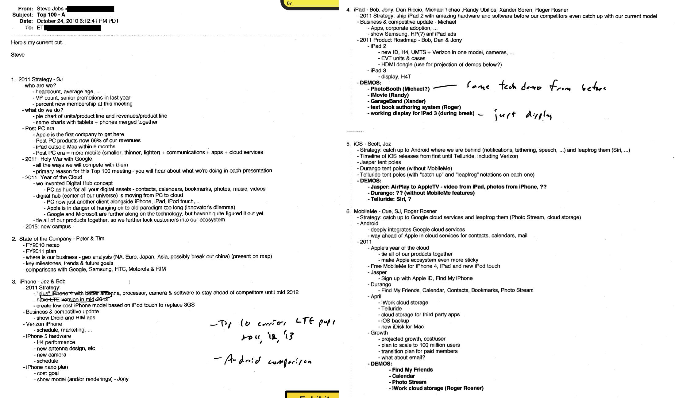 Имейл Стива Джобса в 2010 году